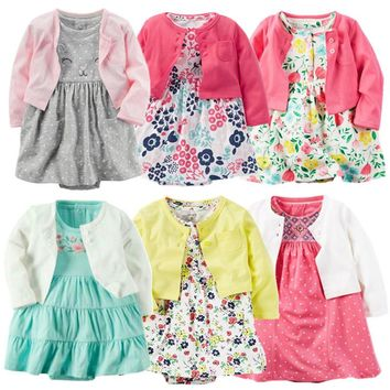 2018 spring baby girl clothes bodysuit +jackets baby clothes Roupa infant jumpsuits cotton baby clothing for 0-24M dresses