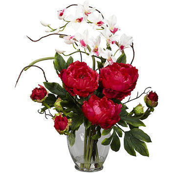 Silk 21.5-inch Peony/ Orchid Flower Arrangement | Overstock.com Shopping - The Best Deals on Silk Plants