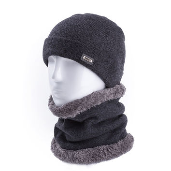 Soft Wool Warm Winter Hats & Ring Scarf For Men And Women Cashmere Beanie Cap&Scarf Solid Knitted Hat