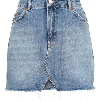 MOTO Cut Out Mini Denim Skirt | Topshop