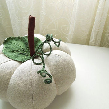 Natural Linen Pumpkin with Leaf and Vine size large by SeaPinks
