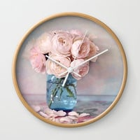 English Roses Wall Clock by sylviacookphotography