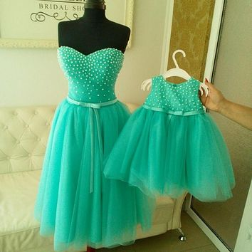 Kids Pageant Ball Gowns Pearls Mint Green flower girl dresses for weddings Mother and Daughter Matchin Dress