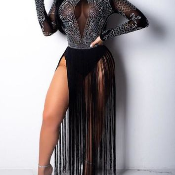 Black Patchwork Tassel Rhinestone Glitter Side Slit Sheer Sparkly Clubwear Maxi Dress