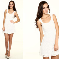 Abigail Lace Babydoll Dress in White