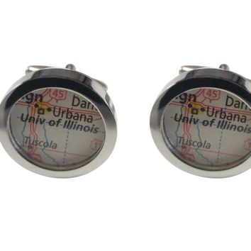 University of Illinois Map Cufflinks