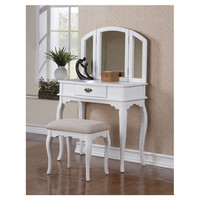 Poundex Bobkona Jaden Bedroom Vanity Set with Stool in White