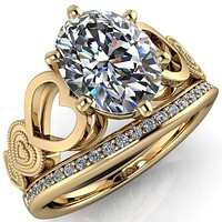 Triple Sweetheart Oval Moissanite Cathedral Set 6 Prong Engagement Ring