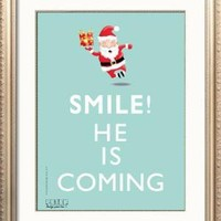 SALE  Smile He Is Coming  digital product Mint by petekdesign