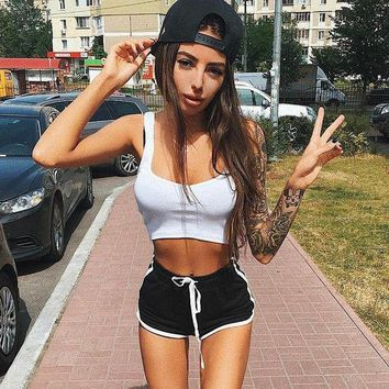 DCCKON3 Elegant shorts Women lace up pole dance bermuda feminina causal breathable pantalones cortos mujer