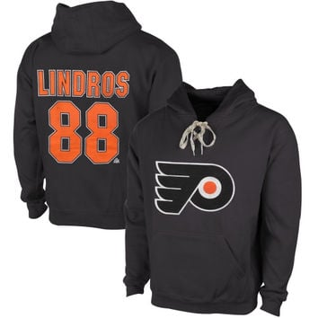 Eric Lindros Philadelphia Flyers Old Time Hockey Malcolm Skate Lace Alumni Hoodie – Heather Gray