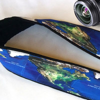 World Map Camera Strap. Colorful Camera Strap. Camera Accessories