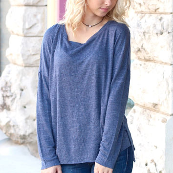 Basic Hi-Lo Long Sleeve {Blue}