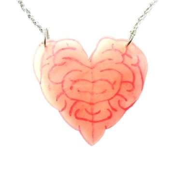 I Love Your Brains | Heart Shaped Brains Pendant Necklace in Acrylic | DOTOLY