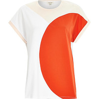 River Island Womens Red curved color block t-shirt