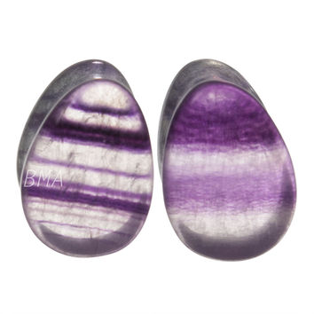 0g (8mm) Fluorite Teardrop Stone Plugs #6436