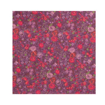 Strawberry & Mauve Floral Pocket Square