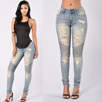 Ladies Stretch Ripped Sexy Skinny Jeans Womens High Waisted Slim Fit Denim Pants Slim Denim Straight Biker Skinny Ripped Jeans