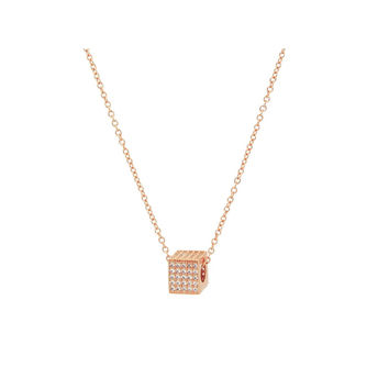 "Rose Gold Sterling Silver Necklace |Micro Pave CZ Cube Pendant, 16""+2"""