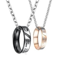 "Stainless Steel 18k Rose Gold Plated ""True Love"" Engraved Pendant Necklace Set for Couple, Men, Women N108"