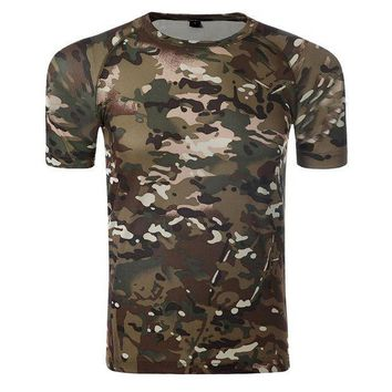 PEAPFS2 New Summer Military Tactical Camouflage T-Shirt Quick Dry Breathade Outdoor Mountaineering Fishing Hunting Tight T-Shirt Man