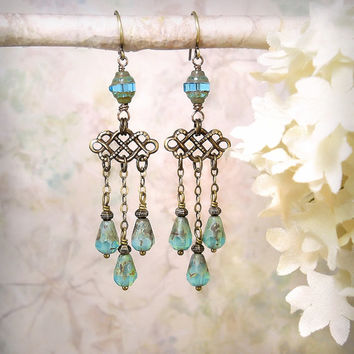 Pompeii - Aqua Opal Chandelier Earrings, Ocean Beach Wedding, Bridal Earrings, Roman Empress, Mermaid Siren Earrings, Vintage Style Earrings