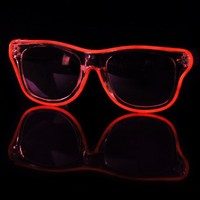 EL Wire Clear Red Light Up Sunglasses : LED Wire Glasses and Shades from RaveReady