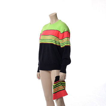Vintage 80s Meister Neon Stripe Ski Sweater and Hat 1980s Retro Skiing Snowboard Pullover Hagemeister Lert Sweater / Unisex Mens Womens