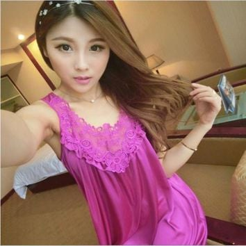 LMFCI7 2017 sexy women nightwear Night Dress Sleeveless Nighties nightgowns Silk Satin Lace sleepwear Lovely Female Nightdress summer
