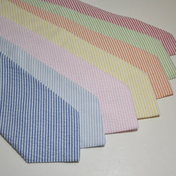 Seersucker Neckties for Your Wedding Party Lots of Colors Available