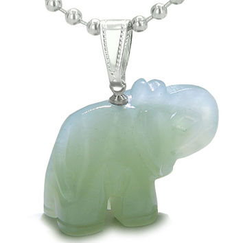 Amulet Lucky Charm Elephant Totem Green Serpentine Good Luck Powers Pendant 22 Inch Necklace
