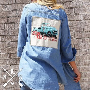 Southern Grace Jesus Take the Wheel Patch on Long Denim Shirt