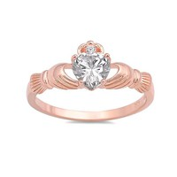 Sterling Silver Rose Gold Plated CZ Heart Claddagh Ring