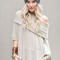 Layover Draped Cozy Poncho Sweater
