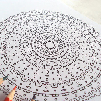 Boho Tribal Mandala Adult Coloring Page - PDF Printable Drawing - Intricate Abstract Art 'Bohemian' - Number 3 - Instant Download