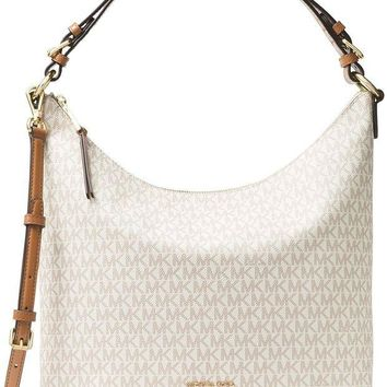 ONETOW MICHAEL Michael Kors Lupita Signature Large Hobo Shoulder Bag, Vanilla