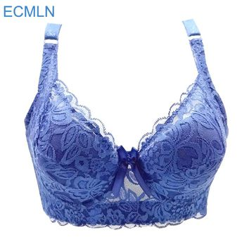Hot Full cup thin underwear small bra plus size wireless adjustable lace Women's bra breast cover B C D cup Large size
