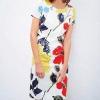 Multicolor Floral Print Short Sleeves Zipper Back Mini Dress