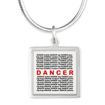 Dancer Block Words Silver Square Necklace