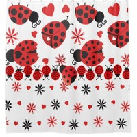 Inspired Ladybugs and Hearts Shower Curtain