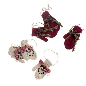 Hanging Polyester Mittens Christmas Tree Ornament, 3-Piece