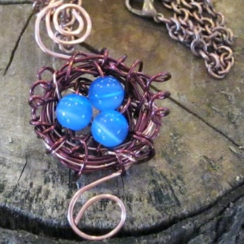 Copper Wire Wrapped Blue Bird Nest Pendant Necklace Handmade Jewelry