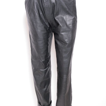 Vintage Eighties Black Leather Cuffed Baggy Oversized Pants
