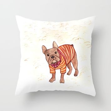 French bulldog Throw Pillow by metaldom77
