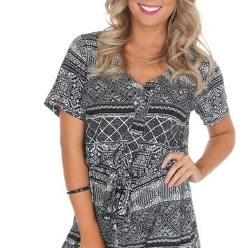 Black & White Print Romper