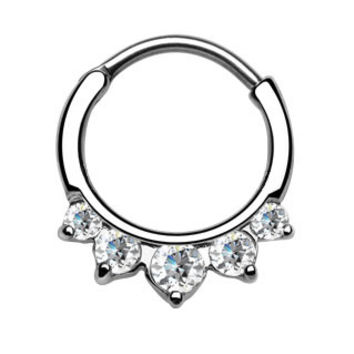 Five Paved Gem CZ Septum Clicker