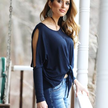Summer Sunsets Cold Shoulder Tie Waist Top (Navy)