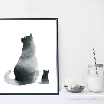 Black cat animal art print, watercolor black & white cat print, minimal simple print, zen, home wall decor,apartement wall art, gift,