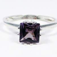 Alexandrite Princess Cut Ring Sterling Silver