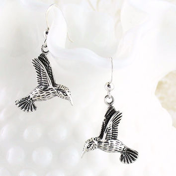 Hummingbird Dangle Earrings in Sterling Silver